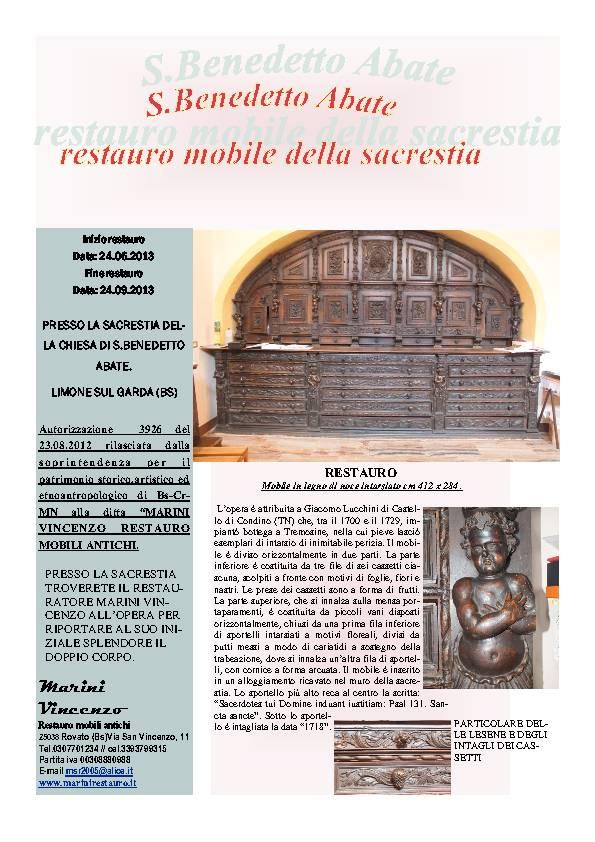 Restauro mobile sacrestia S. Benedetto Abate